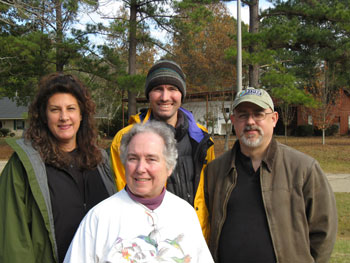 Part of the Casa Colibrí Krewe: Front -- Nancy Newfield; Back -- Joan Garvey, Stephen Locke and Kevin Morgan